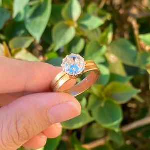 Vintage Faux Diamond Gold-Toned Ring